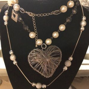 Silver wire heart with beaded chains